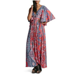 Free People Printed Fern Maxi Dress Red Size 10